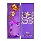 Blingbin Rosa Eterna 24K, Rosa Eterna Flores Chapadas En Oro con Caja, Cumpleaños Rojo/Dorado/Azul/Púrpura, 25 X 9 Cm