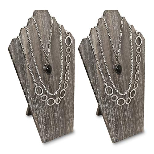 Ikee Design 2 Pcs Lightweight Wooden Necklace Display Bust Easel Jewelry Display for Shows, Necklace Display Stand, Jewelry Display Bust For 3 Necklaces, Coffee Color
