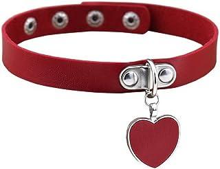 YiyiLai Heart Pendant Gothic Leather Necklace Collar Choker Bracelet