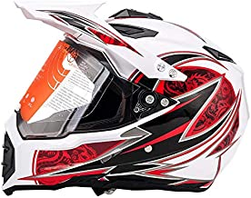 MotorFansClub Motorcycle Modular Full Face Helmet Off-Road Dirt Bike Motorcycle Flip Up Visor Sun Shield Fit for Compatible with Adult (White, Large)