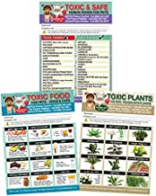 """Set of 3 Enhanced TRADEMARKED Toxic & Safe Foods, Toxic Plants & Toxic Foods Poison for Pets Dogs Cats Emergency Home Alone 5"""" x 7"""" Veterinarian Approved Refrigerator Safety Magnets (1 Set from TLC)"""