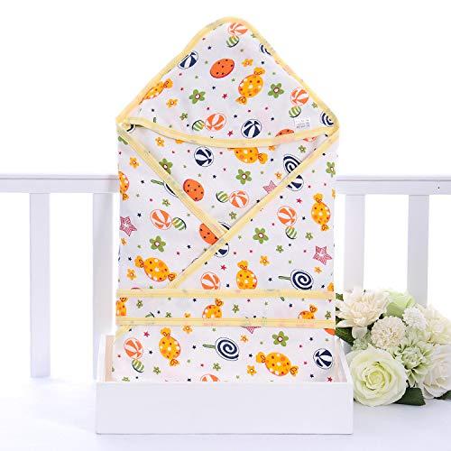 Manta de muselina para bebé, manta de muselina unisex para recibir para niños y niñas recién nacidos, 100% algodón transpirable para recién nacidos (piruleta amarilla, 80 x 80 cm)
