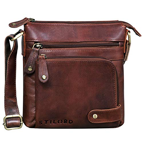 STILORD 'Cameron' Kleine Leder Umhängetasche Vintage Messenger Bag Ledertasche DIN A5 8,4 Zoll Tablettasche Handtasche Cross Body Bag Retro Ledertasche, Farbe:Porto - Cognac