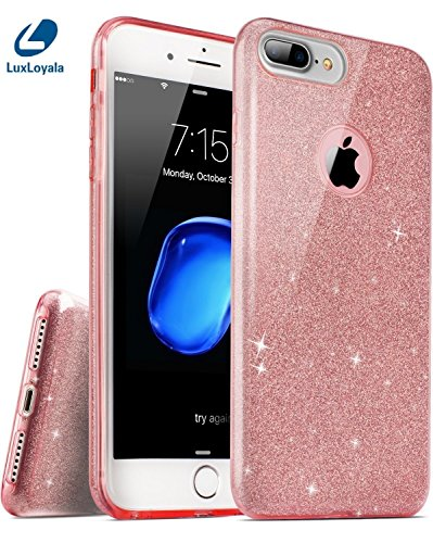Cute iPhone 7 Plus Case for Girl, Pink iPhone7 Plus Girly Case Shockproof Silicone Bling Glitter Sparkle Transparent phone Protective case,not fit well for iPhone 8 Plus.