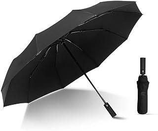 Kono Automatic Folding Golf Umbrella For Travel Lightweight 10 Ribs Windproof Canopy Compact Small Portable Black