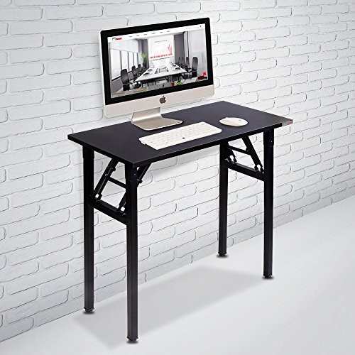 Need Small Computer Desk Folding Table 31 1/2' Length No Assembly Sturdy and Heavy Duty Writing Desk for Small Spaces and Small Folding Desk -Damage Free Deliver(Black Walnut) AC5CB8040