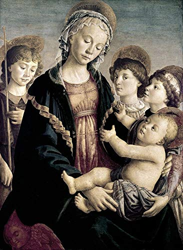 Posterazzi PDX276806LARGE Madonna and Child with St. John Baptist and Two Angels Photo Print, 24 x 36, Multi (Madonna And Child With St John The Baptist)
