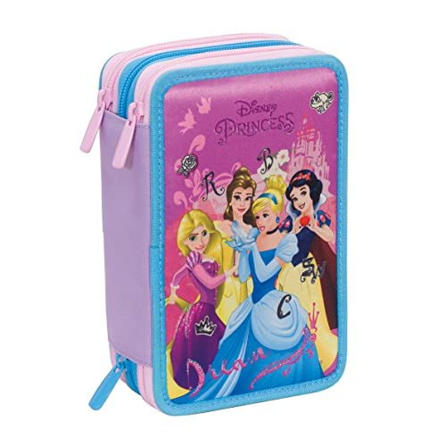 Astuccio 3 Zip Disney , PRINCESS DREAMY DRESS , Rosa , Con CONTENUTO: matite, pennarelli ..., disney princess dreamy dress, poliestere