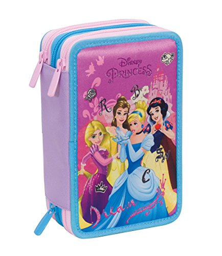 Astuccio 3 Zip Disney , PRINCESS DREAMY DRESS , Rosa , Con CONTENUTO: matite, pennarelli ..., disney princess dreamy dress, poliestere