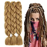 Sucoo Jumbo Braiding Hair Extension Synthetic Kanekalon High Temperature Fiber Crochet Twist Braids Hair With Small Free Gifts 24inch 3pcs/lot(Light Brown)