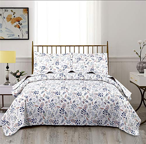 Ycosy 3-Piece Floral Quilts Full/Queen Size Red Blue Lightweight Spring Leaves Flower Bedspread Sets Blue Summer Blanket Girls Coverlets with 2 Pillow Shams