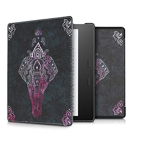 kwmobile Klapphülle kompatibel mit Amazon Kindle Oasis 10. Generation - Hülle eReader - Elefant Zeichnung Pink Anthrazit