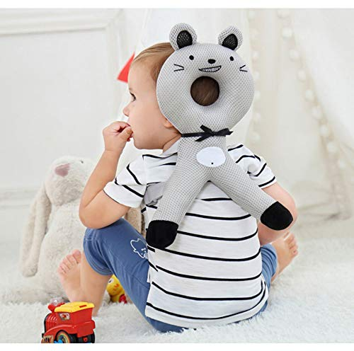 Protector de cabeza de bebé recién nacido de dibujos animados, almohada de seguridad para la espalda cojín protector de cabeza ajustable suave bebé almohadilla protectora caminar sentarse aprender