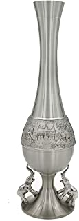 Oriental Pewter - Decoration Vase Pewter Hand Carved Pure Tin 97% Lead-Free Pewter Handmade in Thailand FV55E
