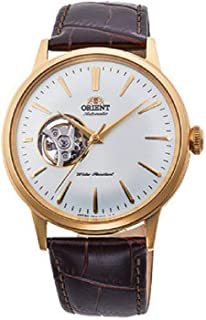 Orient 'Bambino Open Heart' Japanese Automatic Stainless Steel and Leather Dress Watch
