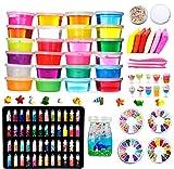 Fai da Te Fluffy Slime Kit –24 Colori Slime Kit per Ragazze Ragazzi Giocattoli con 48 Glitter in Polvere, Slime Forniture per Bambini, Include Argilla, Fette di Frutta e Utensili, Anti Stress