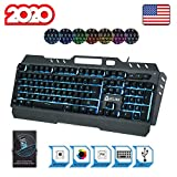 KLIM Lightning Gaming Keyboard + 7 LED Colors + Ergonomic Semi Mechanical Keyboard with Metal Frame + Compatible with PC Mac PS4 Xbox One + Wired Hybrid Keyboard + Teclado Gamer + New 2020 Version