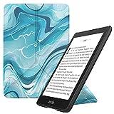 MoKo Kindle Paperwhite E-reader Custodia, Case Origami Verticale per Kindle Paperwhite (10th Generation, 2018 Releases)(Con Auto Sonno/Sveglia) - Blu Acquarello