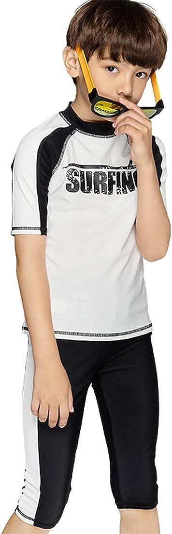Julysand Boys' Rash Guard Swimsuit Two Piece Swimwear Set Short Sleeve Beachwear Sun Protection Suit