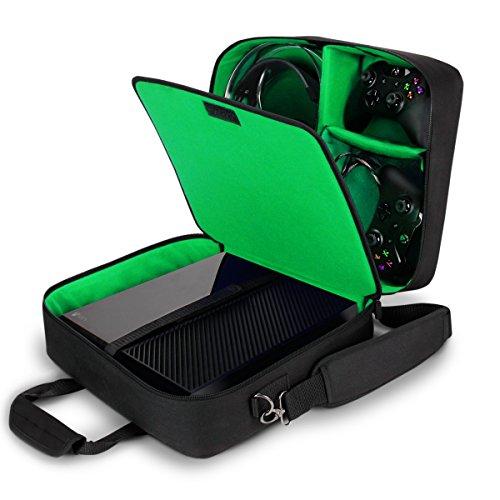 USA Gear Tragetasche für Gaming Konsolen - Schutz Konsolentasche mit Schultergurt und Unterteilbaren Fächer für Zubehör und Games – Kompatibel mit Xbox One X, Xbox One S und Weiteren Konsolen - Grün