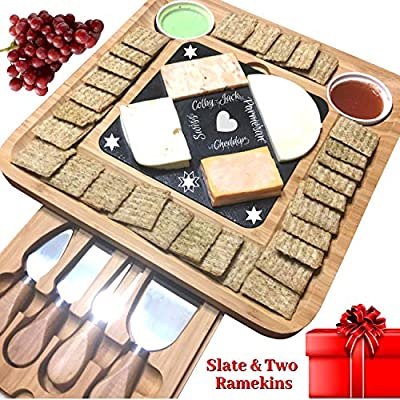 iBambooMart Cheese Board w/Cutlery Set, Bamboo Wood Charcuterie Platter & Meat Server, 4 Knife,4 Forks, 2 Bowls, Unique gifts for Christmas, Mom, Mothers, Women, Men Housewarming, Wedding, Birthday from iBambooMart