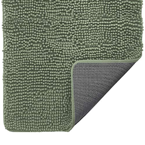 Gorilla Grip Original Indoor Durable Chenille Doormat, 30x20, Absorbent Washable Inside Mats, Low-Profile Rug Doormats for Entry, Mud Room Mat, Back Door, Busy Areas, Olive