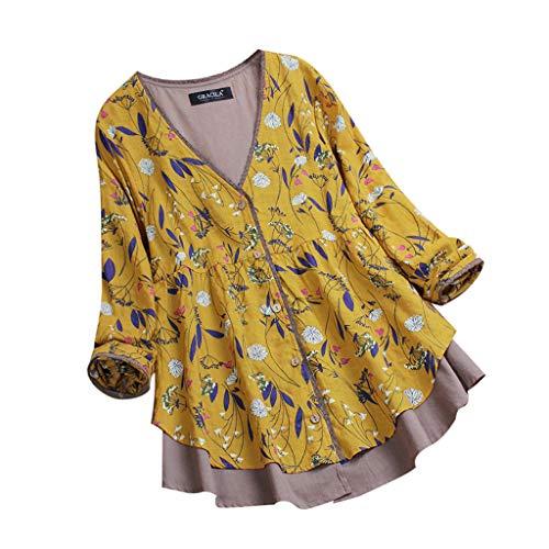 VEMOW Herbst Frühling Sommer Elegante Damen Frauen Stehkragen Langarm Casual Täglichen Party Strand Urlaub Lose Tunika Tops T-Shirt Bluse(Z2-Gelb, 46 DE / 2XL CN)