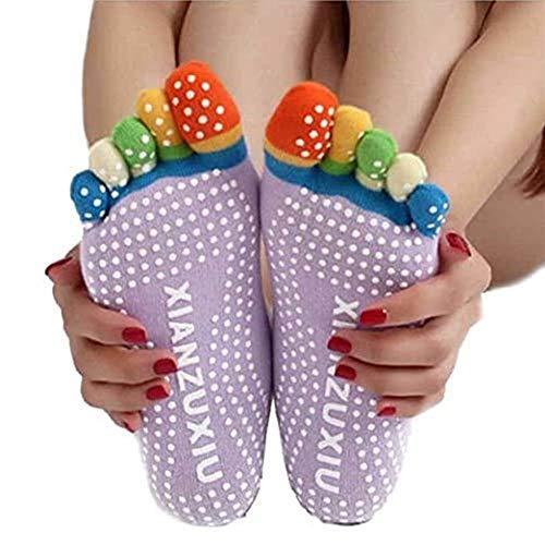 EQLEF 3 paires de chaussettes de yoga d'entraînement antidérapantes pour femmes, idéales pour S