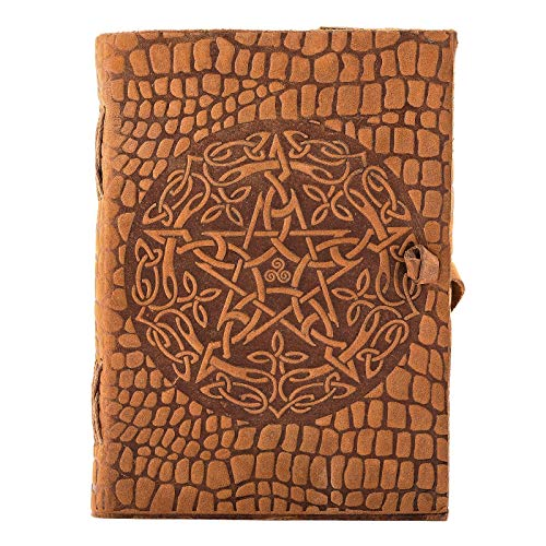 Urban Leather Book - Celtic Croc Star Embossed Vintage Leather Journal - Artist Sketchbook Drawing Scrapbook Writing Notebook Notepad Daily Diary, Unlined, 5x7 inches