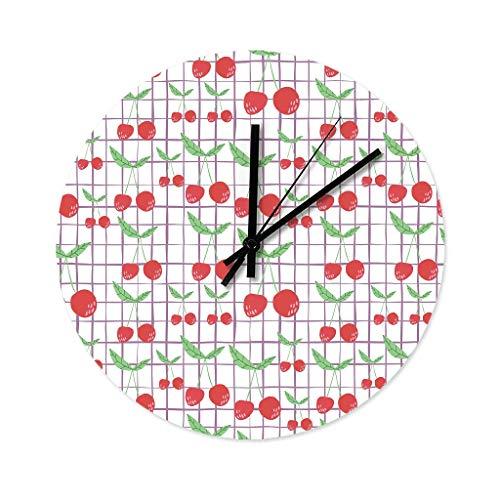 Wraill Kirsch - Reloj de pared redondo de 30 cm, sin ruido de tictac, madera, para ducha, baño, cocina, color blanco, 30 x 30 cm