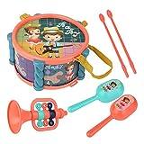 Instrumentos Musicales para niños Batería de Juguete de música Preescolar y educativa con 2 Baquetas, 1 Trompeta y 2 Maracas Regalo de Aprendizaje para niños de 1 a 5 años, niñas, bebés, niños