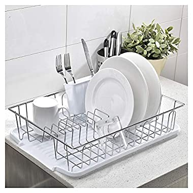 Ikebana Commercial Chrome Wire Small Dish Drying Rack, Kitchen Dish Drainer Rack with White Plastic Cutlery Holder and Drainboard