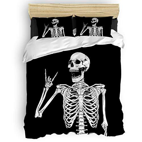 USOPHIA Duvet Cover King Size Rock and Roll Skull Skeleton Bone Ultra Soft Comfy 4 Piece Modern Bedding Duvet Cover Set with Zipper Closure