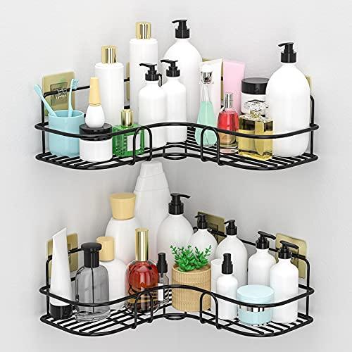 Corner Shower Caddy Shelf, 2-Pack Wall Mounted Shower Bathroom Shelf with 8 Pack Adhesives, Storage Organizer for Bathroom, Dorm and Kitchen. (Black)