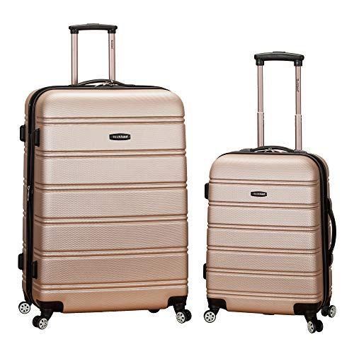 Rockland Melbourne Hardside Expandable Spinner Wheel Luggage, Champagne, 2-Piece Set (20/28)