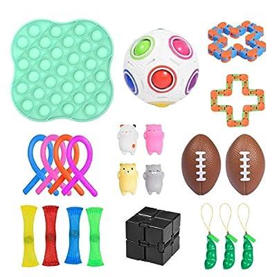 luukiy Juego de Juguetes sensoriales 22 Piezas Fidget Toys para niños y Adultos Alivia el estrés y la ansiedad Fidget Toy Surtido de Juguetes Especiales para Fiestas de cumpleaños, niños y Adultos de luukiy