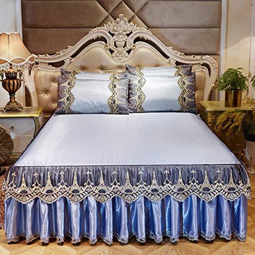 HJKND Colcha de verano de seda de hielo con faldas, funda de cama para dormir, suave, de lujo, de encaje europeo, antideslizante, sábana bajera con funda de almohada