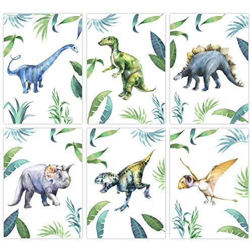 Pandawal Dinosaurier poster Dino Bilder Kinderzimmer Deko Junge 6er Set für Kinder DIN A4 Wandbilder
