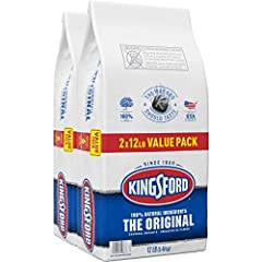 Two 12 pound bags of Kingsford Original Charcoal Briquettes Ready to cook in about 15 minutes, 25% faster than other charcoal brands as compared to other nationally available charcoal brands Sure Fire Grooves help coals light faster More edges for qu...