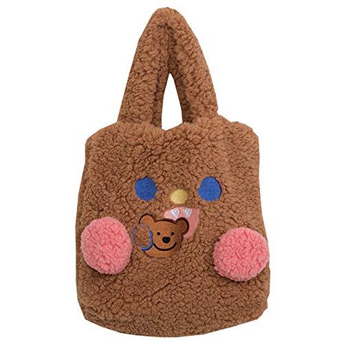 SODIAL Mode PlüSch Winter Warme Damenhandtasche Netter B?R Cartoon Umh?Ngetasche L?Ssige Einkaufstasche