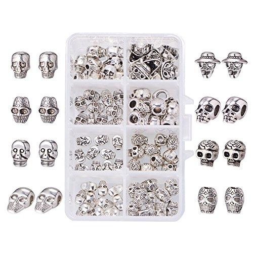 PandaHall Elite - 80 Stück tibetischen Stil Legierung Totenkopf Perlen Schädel geformt Perlen für Halloween Toussaint Armband Halskette, Antik Silber, 9~14x6~13,5x5~8mm