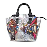 Flyup Bolso de mano para mujer Paris Street Landscape PU Leather Top-Handle Handbags Single-Shoulder Tote Crossbody Bag Messenger Bags For Women