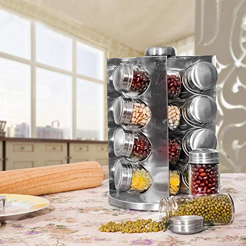 Mostrador Giratorio de Especias Estante de Acero Inoxidable Organización de Almacenamiento de condimentos Torre de...
