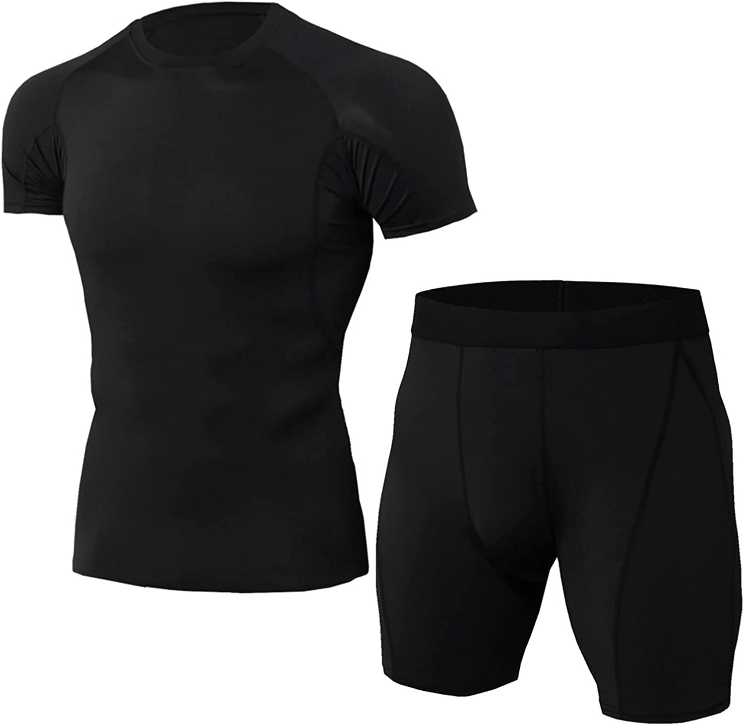 Men's Athletic Compression Sport Sets Short Sleeve Elastic Quick-dry 2 Piece Outfits Summer Beach T-shirt Shorts Set