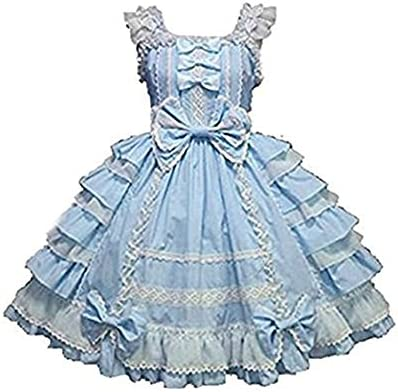 Smiling Angel Girls Sweet Lolita Dress Princess Lace Court Skirts Cosplay Costumes Blue Small product image