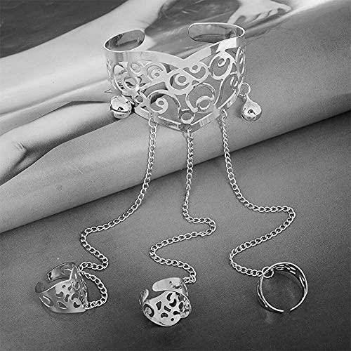zhongbao Cadena de dedo retro pulsera de conexión de dedo con múltiples capas de borla pulsera pulsera pulsera pulsera de joyería personalizada regalo cadena de dedo (color metal: chapado en plata)