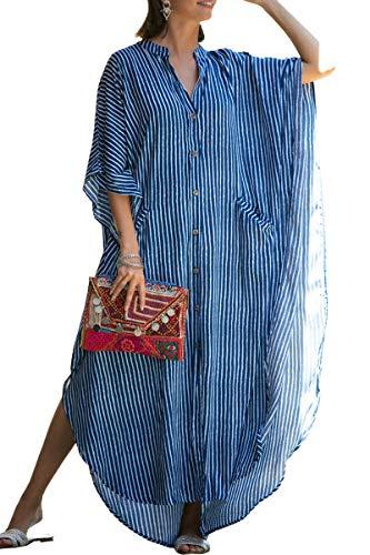 AiJump Damen Bohemien Kaftan Übergröße Strandkleider Lang Kleid Badeanzug Cover Ups (One Size, Dunkelblau)