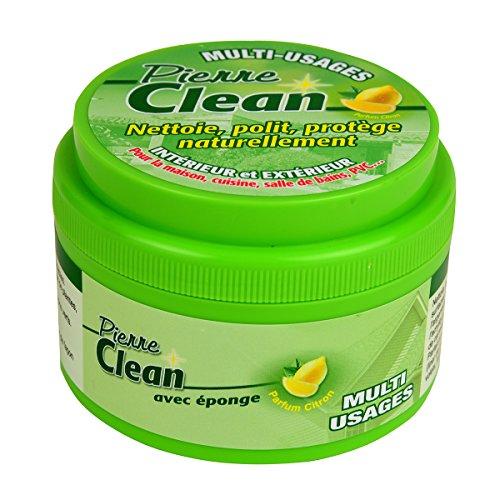 Pierre Clean 600g parfum citron avec éponge - Produit à base d'argile, appelé aussi Pierre Rénovante ou d'Argile, qui permet de nettoyer, polir, protéger naturellement votre intérieur et extérieur