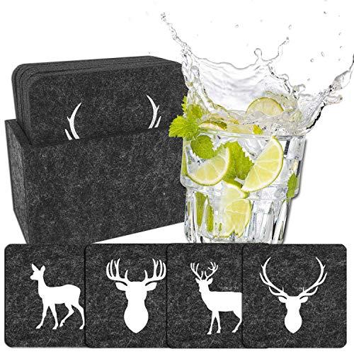 camolo Premium Filz Untersetzer WILD, Glasuntersetzer Set, Glasuntersetzer, 9-teilig Anthrazit/Weiß