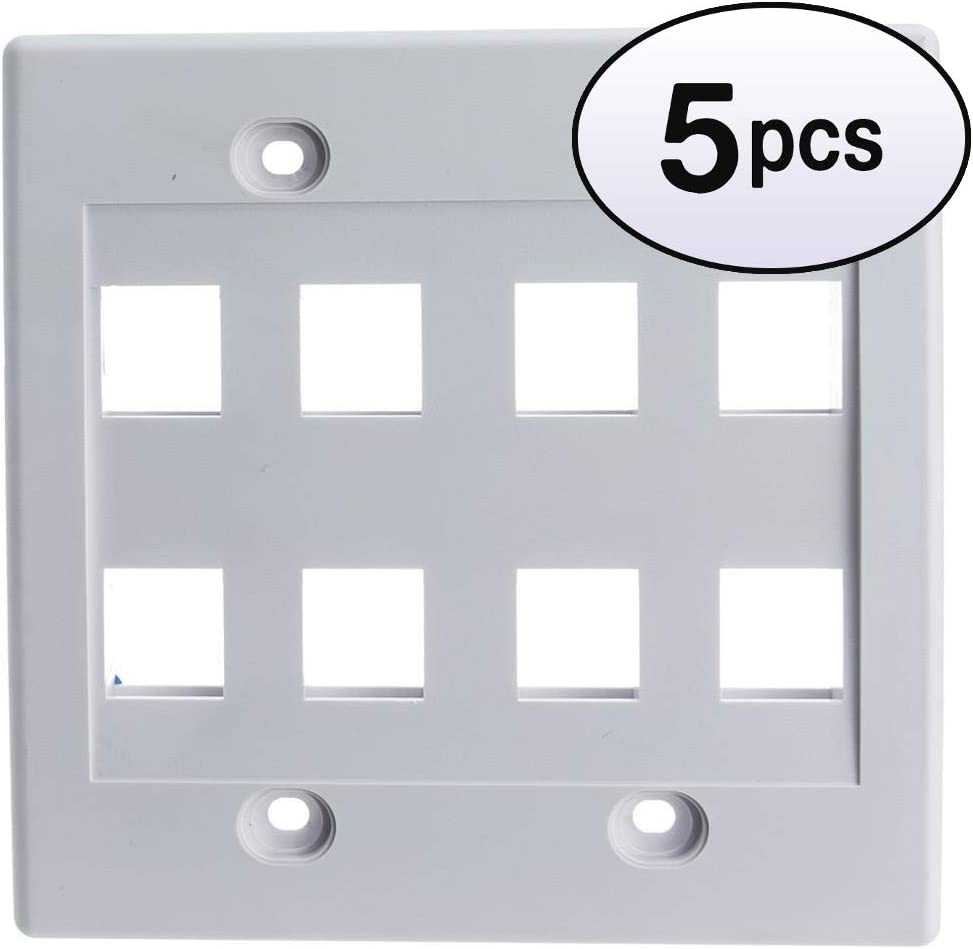 Price reduction GOWOS 5 Pack Keystone Wall Plate Gang 8 Hole White Dual Boston Mall